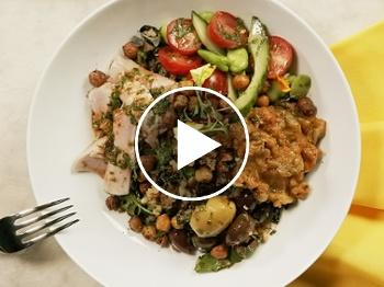 Mediterranean grain bowl with chermoula, zaalouk and tuna
