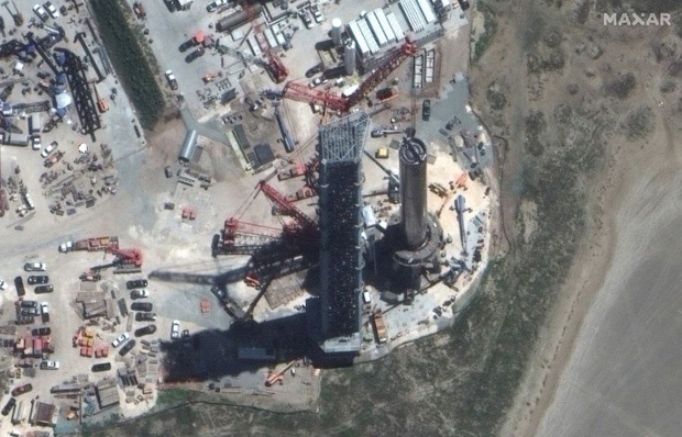 SpaceX's giant Super Heavy rocket spotted from space in satellite photo