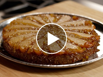 Brown butter pear upside-down cake