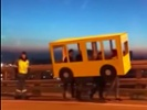 Video: Police slow roll of group in bus costume