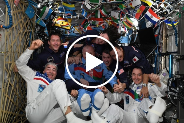 Watch astronauts hold their own Summer Olympics in space with zero-g synchronized swimming and more