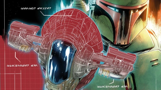 These 'Star Wars' blueprint covers strip down bounty hunter spaceships in Marvel's 'War of the Bounty Hunters' crossover