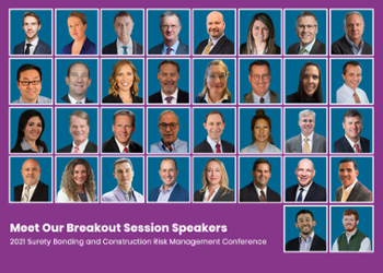 Engage with this year's diverse thought leadership at AGC's 2021 Surety Bonding and Construction Risk Management Conference