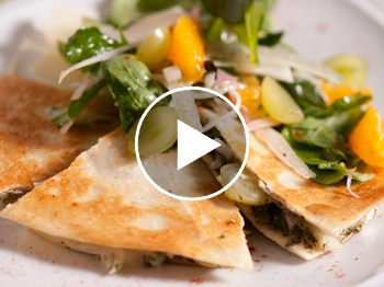 Grape and brie quesadillas with green grape and arugula salad