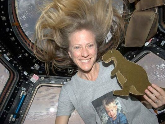 """Space and Dinos! NASA astronaut Karen Nyberg designs """"Dinos in space"""" clothing line"""